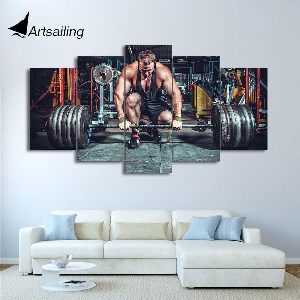 HD Printed 5 Piece Canvas Art Weightlifting Fitness Equipment Painting Gym Wall Pictures For Living Room