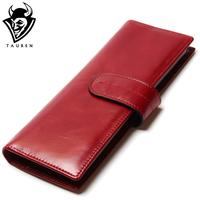 TAUREN 100 First Layer Genuine Cowhide Oil Wax Leather ID Card Holder Men Women Credit Business