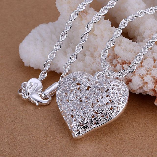 3cd824b0417be Kiteal silver jewelry 925 vintage hollow out Frosted flower heart pendant  1mm 18
