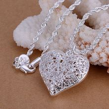 wholesales jewelry silver necklaces Sand Flower heart pendant 1mm 18″ snake/2mm 20″ twist rope necklace chain prices in euros