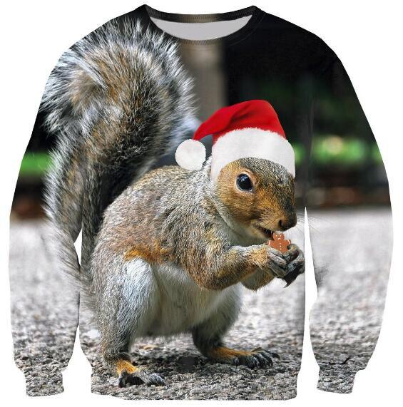 da32d10e44f0e Women Men Spring Autumn Crewneck Christmas Squirrel Sweatshirt Squirrels  eat Print Hipster Hoodies Casual Tumblr Outfits Tops