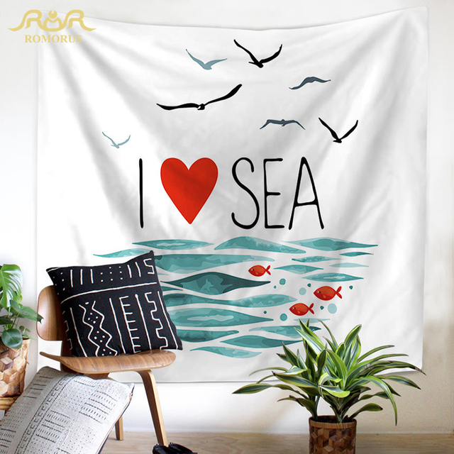 Romorus 2018 sea ocean wall hanging tapestry beautiful scenery large fabric tapestries for home living room