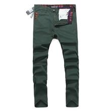 Зеленый джинсовые Брюки Новый Известный Бренд Superably Жан Брюки С Бисером Регулярные Прямые Мужская Повседневная Джинсы Брюки-Карго U202B