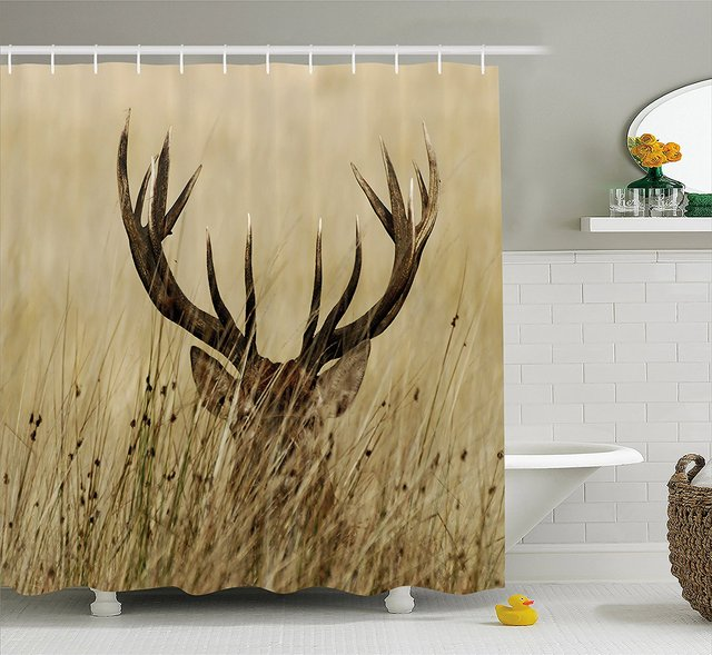 Antler Decor Shower Curtain Whitetail Deer Fawn In Wilderness Stag Countryside Rural Hunting Theme Brown Sand