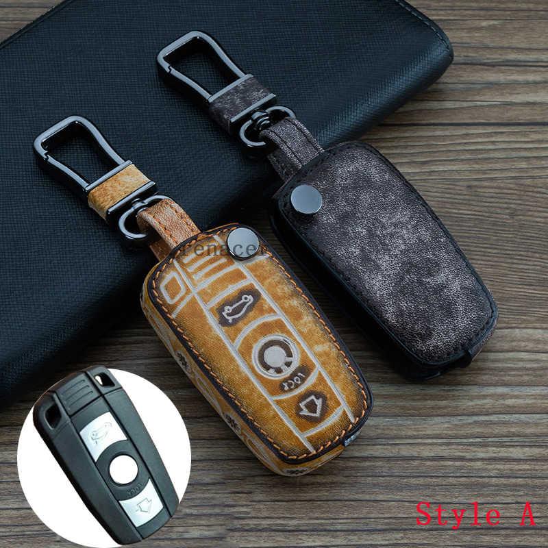 Nova Antique Rabisco couro Genuíno caso tampa da chave do carro anel keychain para BMW X1 X3 X4 X5 X6 para BMW 1 2 3 4 5 6 7 série GT