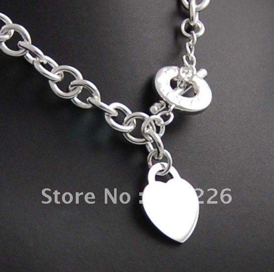 Wholesale TO Buckle love pendant  silver plated copper jewelry necklace.Free shipping.