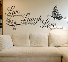 hot deal buy live laugh love butterfly flower wall art sticker wall decals quotes vinyls stickers wall stickers home decor living room