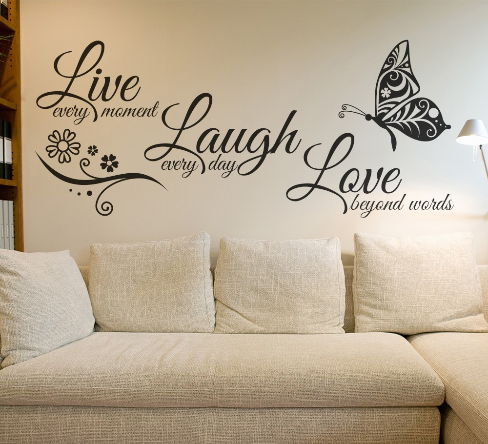 Live laugh love бабочка цветок стены Книги по искусству Стикеры современные настенные надписи кавычки винилы Наклейки на стену Домашний Декор Гос...
