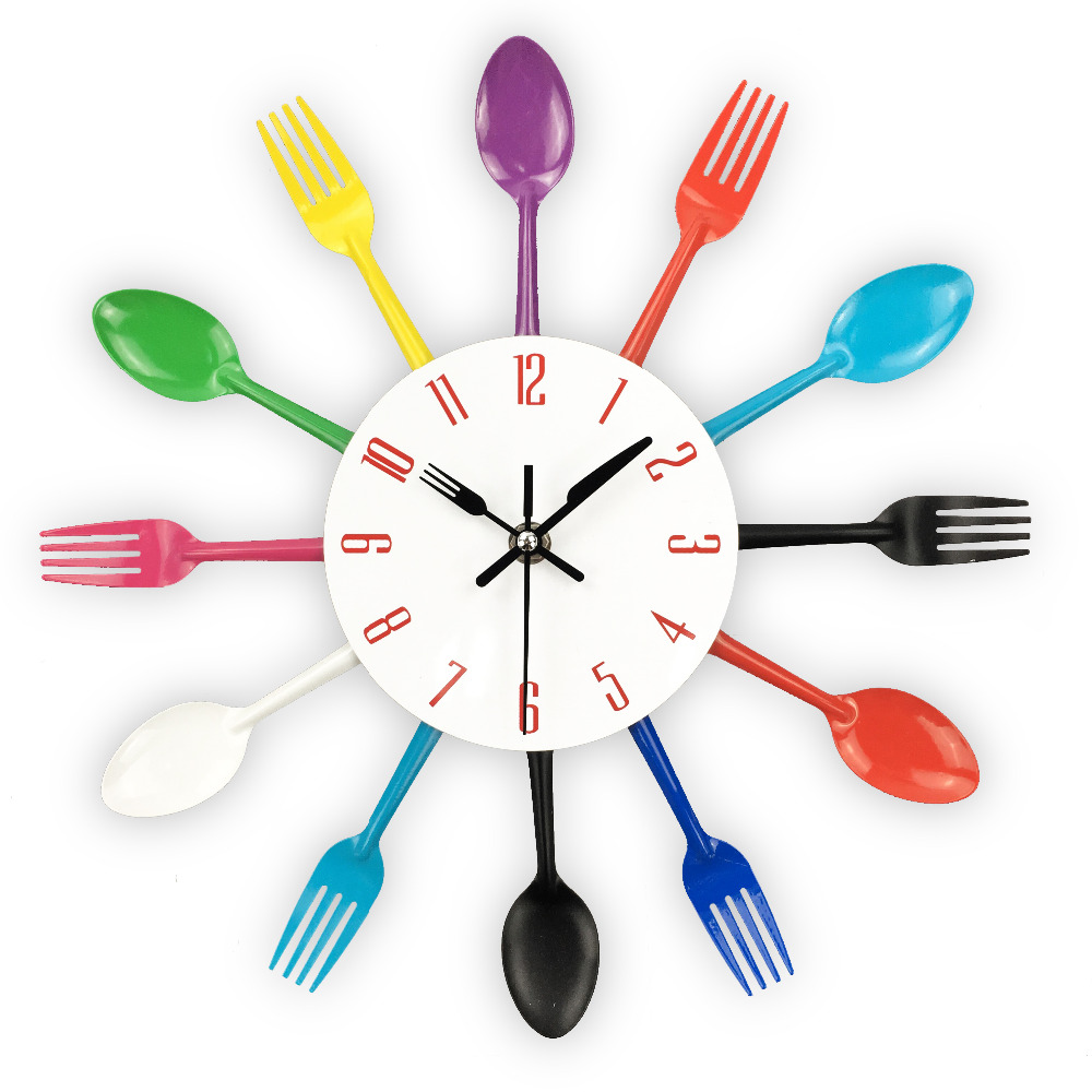 Cutlery Design Wall Clock Metal Colorful Knife Fork Spoon Kitchen Clocks Creative Modern Home Decor Antique