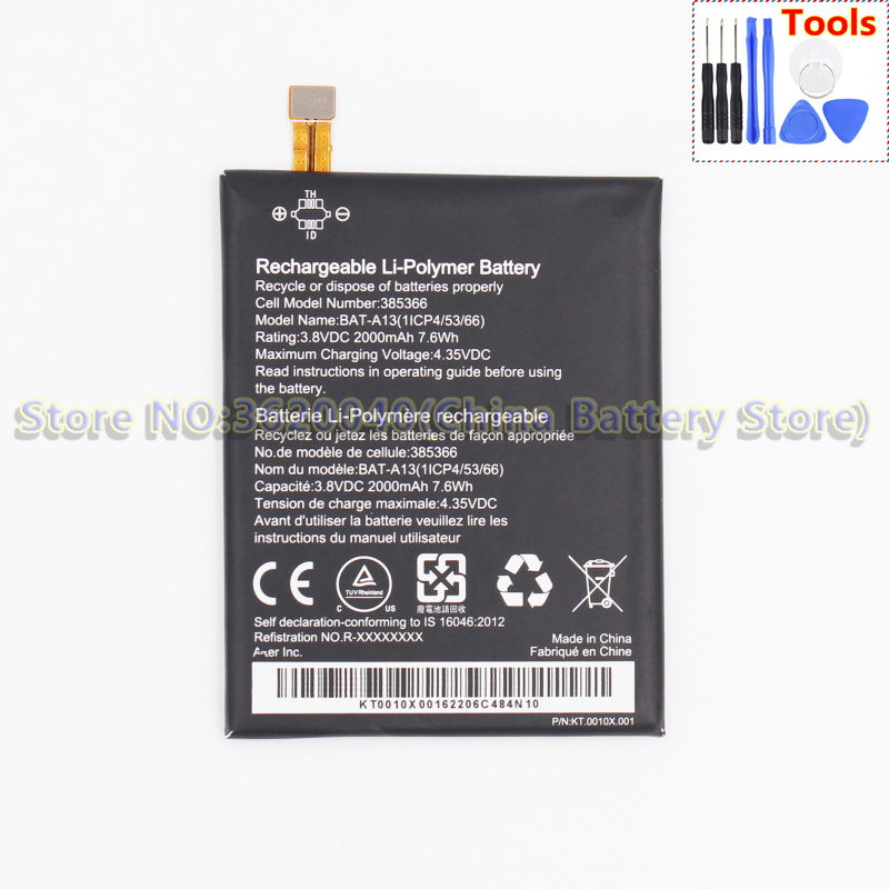 GND BAT-A13 Batterie Ce for Acer Liquid Zest 4g/Zest/T06/T07 Built-In Li-Polymer 2000mah/7.6wh