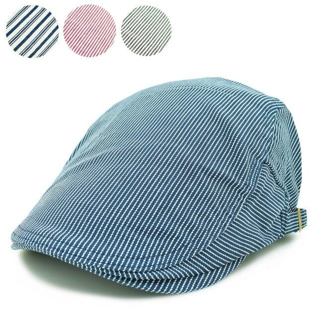 040cde3d Fashion artist painter style blue red balck chambray stripes cloth cotton  beret flat cap hat for adult women men adjustable