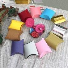 50pcs New Design Folding Carton 9*6.5*2.5cm Small Pillow Shape Box Jewelry Beads Gift Bags Luxury Flower Gift Candy Box