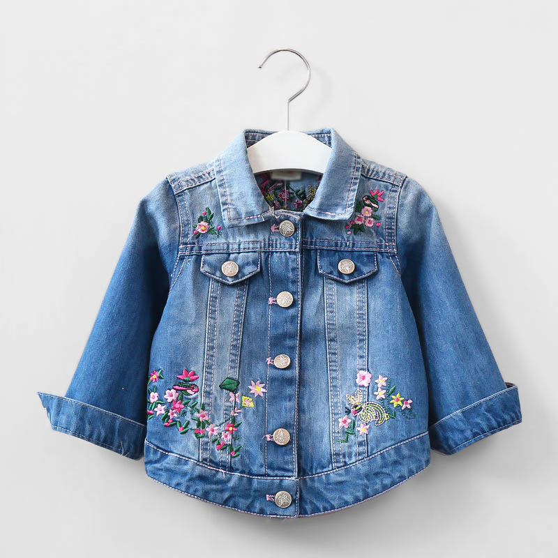kids girls denim jacket children butterfly embroidery jacket children 39 s clothing girls spring. Black Bedroom Furniture Sets. Home Design Ideas
