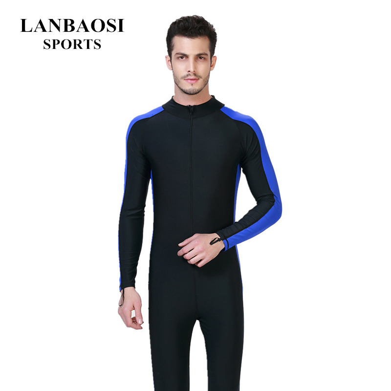 все цены на Professional Surfing Swimwear Mens One-piece Diving Swimsuit Lycra Front Zip Crew UV Snorkeling Swimming Surfing Suit Wetsuit онлайн