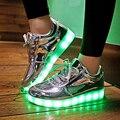 2016 Brillante 11 Colores Luminoso Deporte Zapatos hombres con Iluminación LED para Los Adultos Iluminan Zapatos Zapatos Unisex led Que Brilla Intensamente de Carga USB