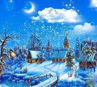 Diy Diamond Snowy Night 5D Cross Stitch Diamond Home Decor Gift Kit Diamond Full Round Mosaic