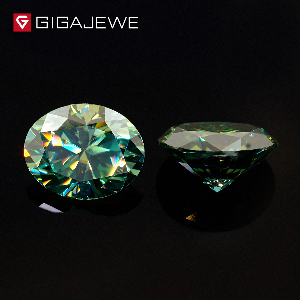 GIGAJEWE Moissanite Oval Cut Green Color 6mmX8mm 1 2ct Beads DIY Gem Making Loose Stone For