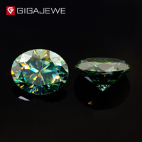 GIGAJEWE Moissanite Oval Cut Dark Green Color 6mmX8mm 1.2ct Beads DIY Gem Making Loose Stone For Fashion Jewelry Girl Gift