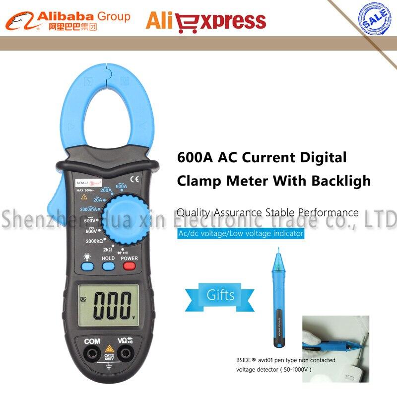 ACM12 600A AC Current Digital Clamp Meter Multimeter Alternating Current Voltage Resistance Tester Suitable for Laboratory  цены