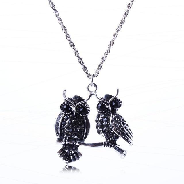 Double Owl Pendant Necklace