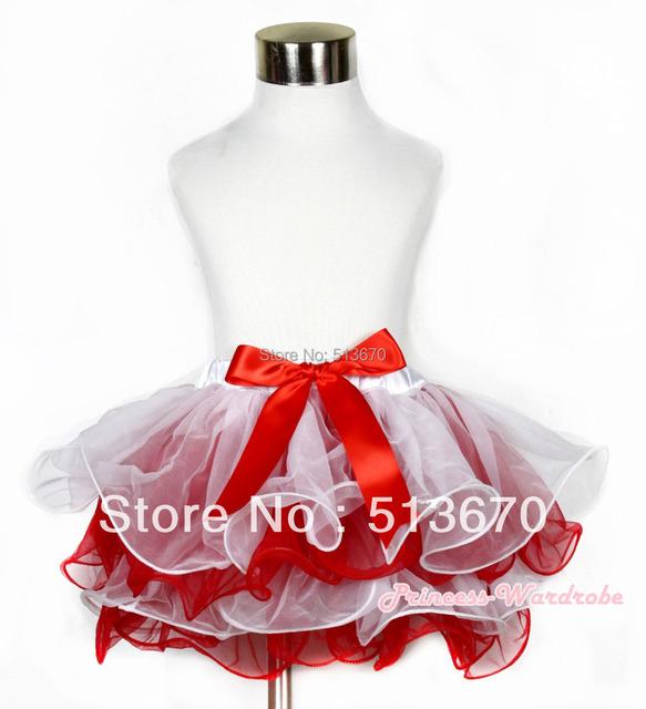 Navidad blanco rojo pétalo de la flor bebé recién nacido Pettiskirt con lazo rojo MAN169