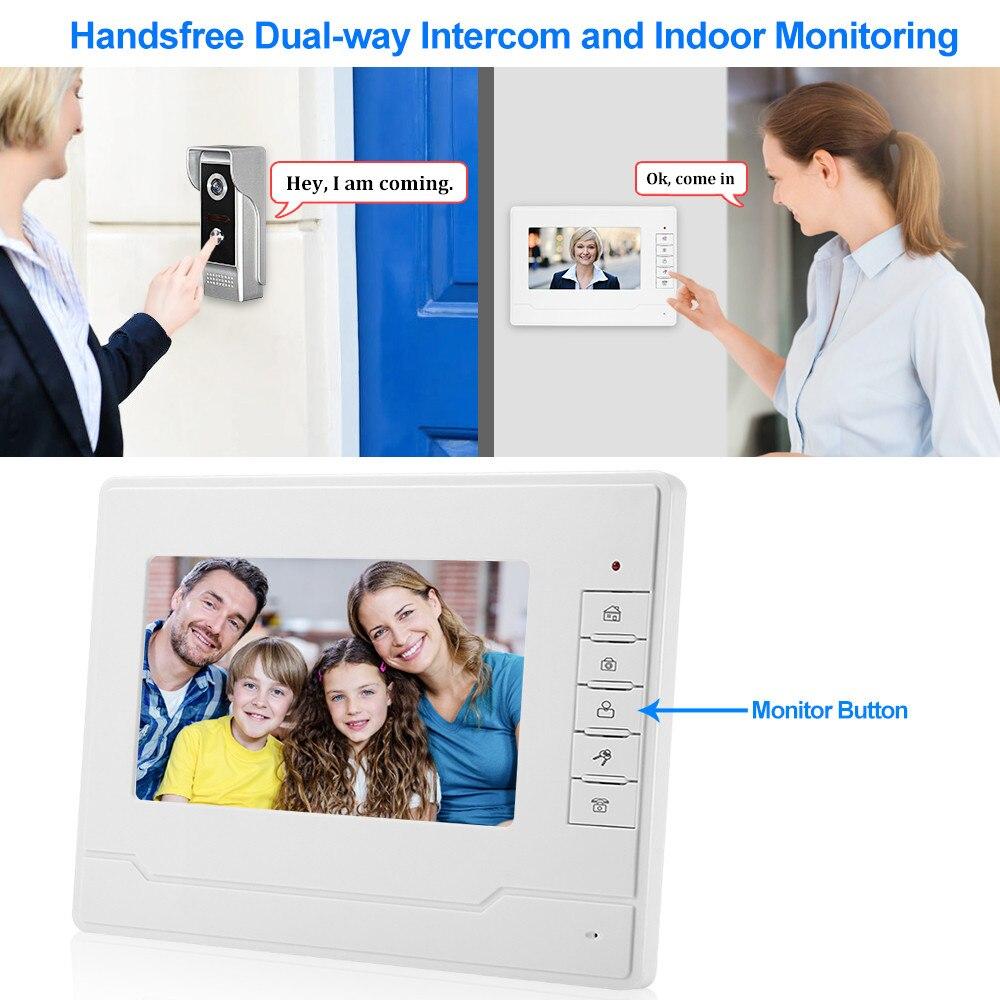 7 ''kleur Screen Video Intercom Systeem Deurtelefoon Deurtelefoon 1 2 Monitoren + Waterdichte Outdoor IR Camera + 16G Sd kaart Opname - 4
