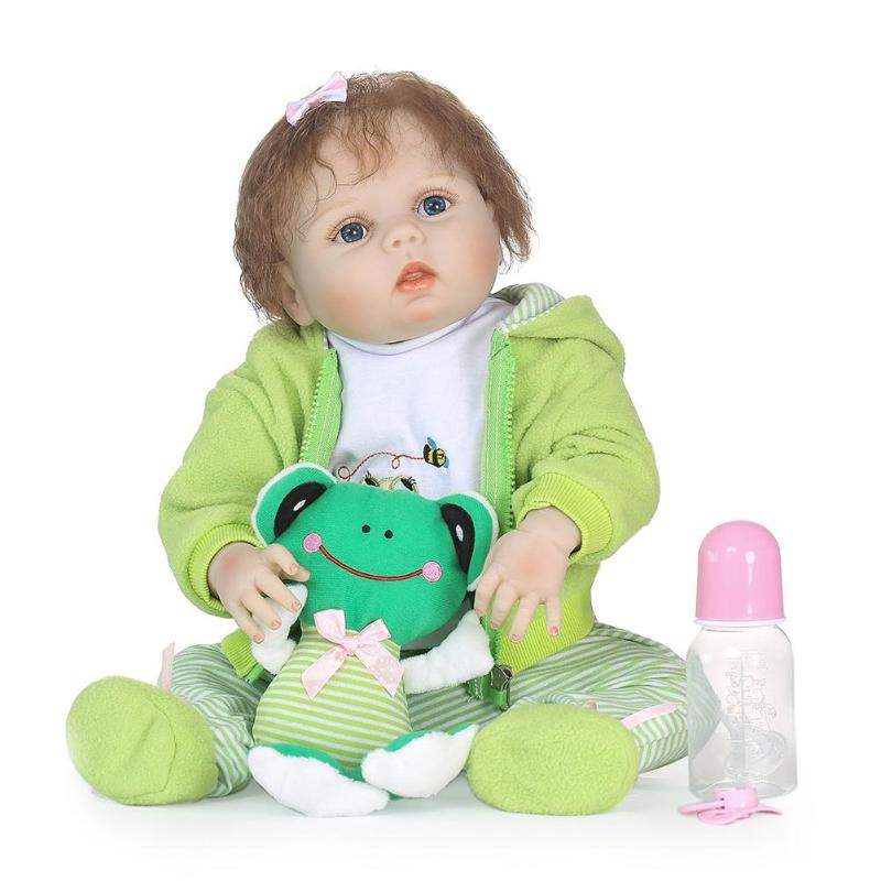 Lovely Reborn Baby Dolls Waterproof Soft Silicone 3D Cute Lifelike Baby Dolls Set with Cloth Kids Sleeping Accompany Toy Gift kawaii silicone reborn baby dolls accompany sleeping baby doll lifelike elegant princess baby gift brinquedos with clothes