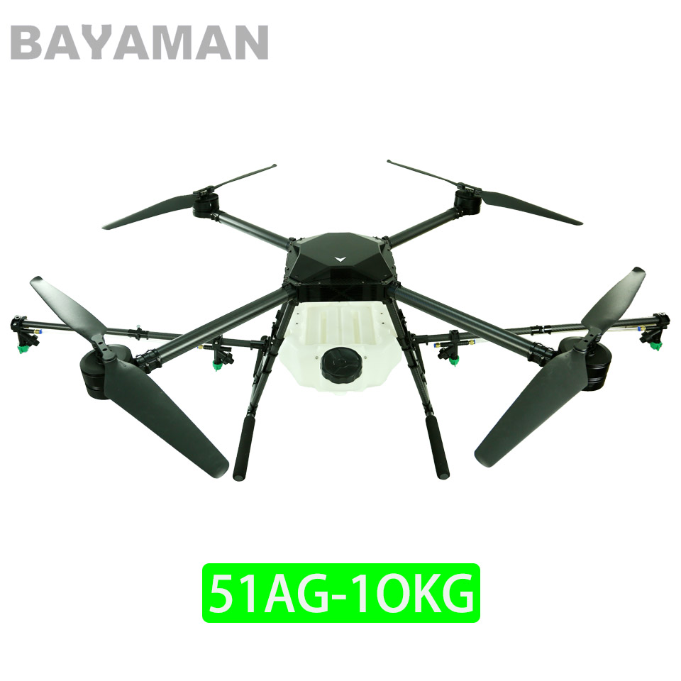BAYAMAN 51AG 4Axis 10kg Agricultural spraying drone Plant protection UAV Quadcopter agricultural uav 5kg d25 25mm foldable arm assemble parts including spray lance plant protection home garden pipes