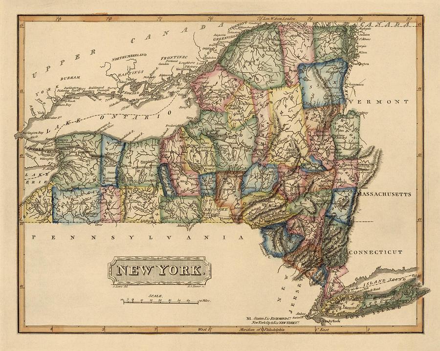 America New York Topography Figure Map Classic Vintage Retro Kraft