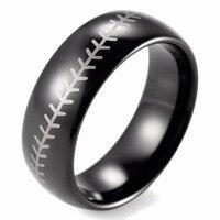 SHARDON 8mm Black Dome Tungsten Carbide Baseball Stitch design ring with white style laser