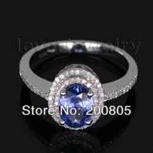 Vintage Oval 5x7mm 14Kt White Gold Diamond Tanzanite Engagement Ring Fine Jewelry for Wife Christmas Gift R0014