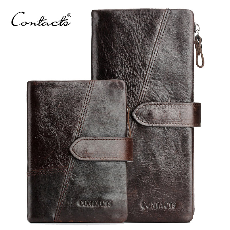 CONTACT'S Genuine Crazy Horse Cowhide Leather Men Wallets Fashion Purse With Card Holder Vintage Long Wallet Clutch Wrist Bag backup plus