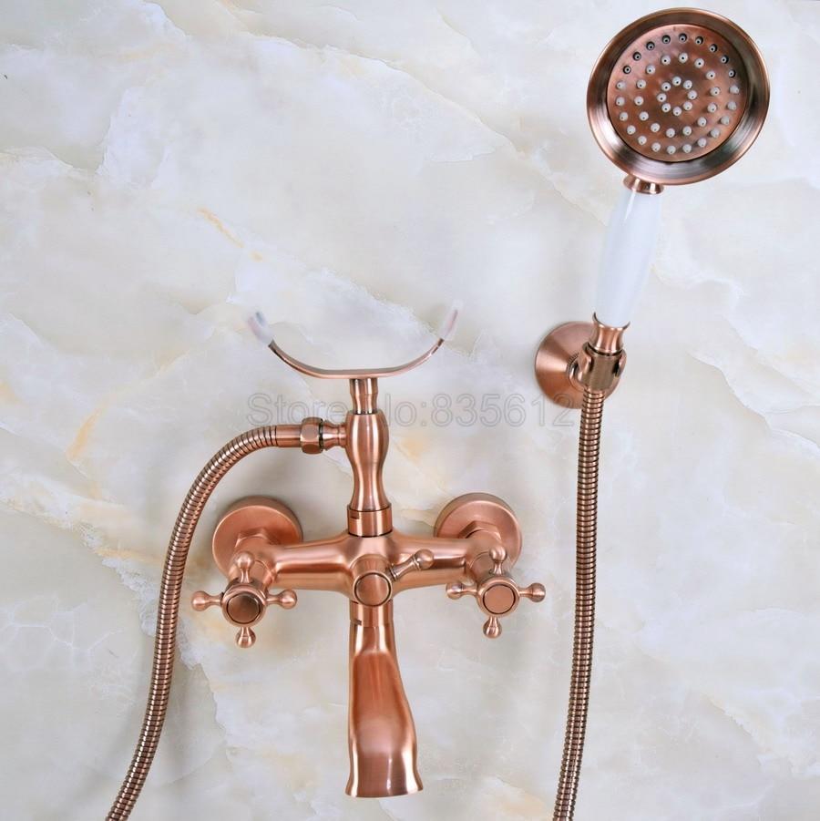 Antique Red Copper Bathtub Mixer Faucet Dual Handle Bath Shower Set with Hand Shower Swivel Tub Spout tna358Antique Red Copper Bathtub Mixer Faucet Dual Handle Bath Shower Set with Hand Shower Swivel Tub Spout tna358