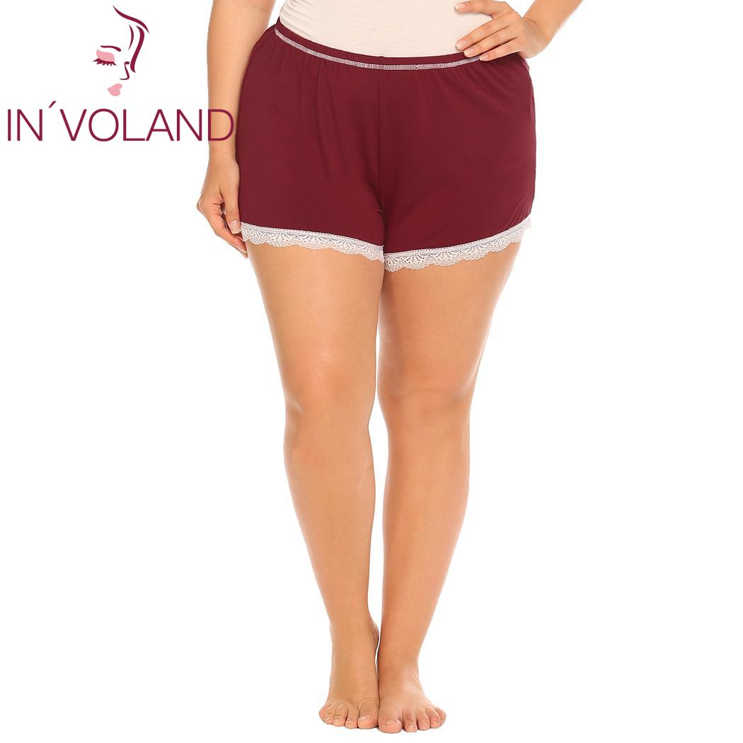 IN'VOLAND Plus Size Women Sleepwear Shorts XL-5XL Women's Sleep Lace Trim Elastic Waist Soft Short Pants Lounge Oversized