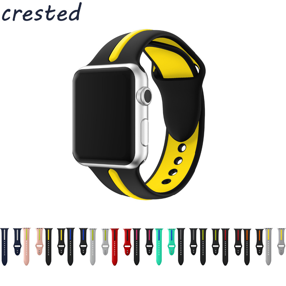 CRESTED sport silicone strap band for apple watch 3 42mm 38mm Double color rubber wrist bracelet watch strap for iwatch 3/2/1 eache silicone watch band strap replacement watch band can fit for swatch 17mm 19mm men women