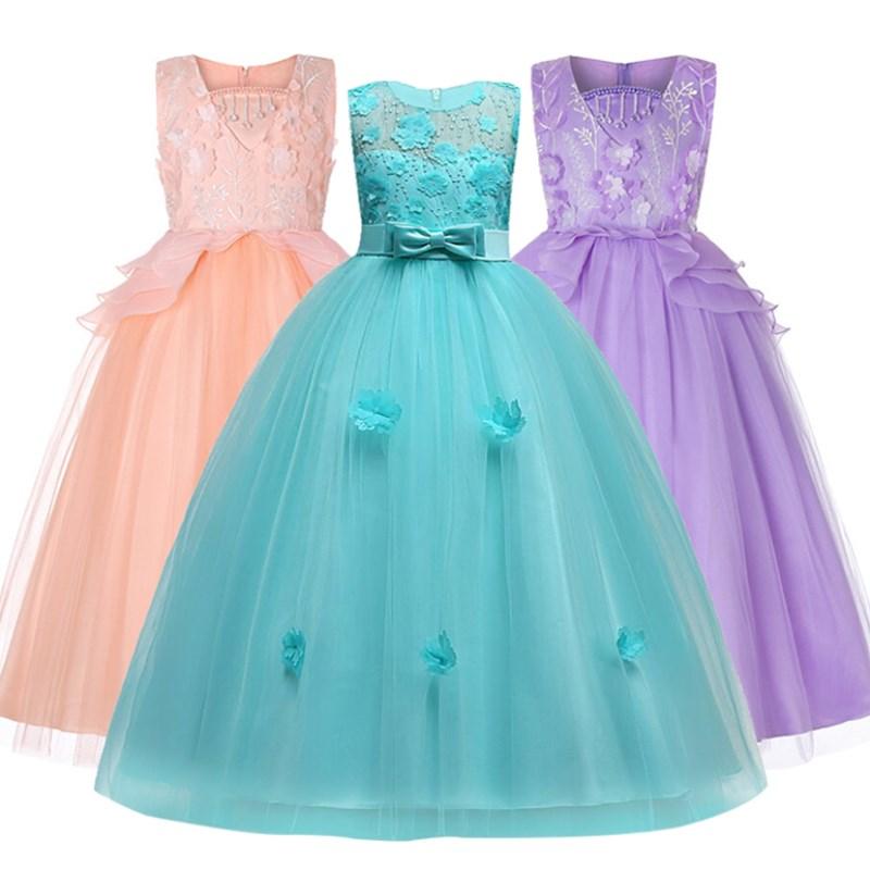 Blumenmädchen Hochzeitskleid für Weihnachtsfeier ärmellose Mädchen Kleidung Chiffon Weihnachtskostüm 3 4 5 6 7 8 9 10 11 12 14 Jahre
