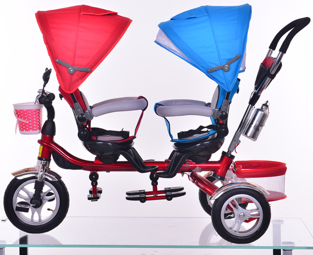 Child Tricycle Twins Baby Bicycle Double Seats 360 Degree