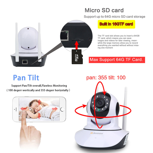 HD 1080P 2MP Home Security IP Camera Wireless Samrt Mini PTZ Audio Video Camara Nanny CCTV Wifi Night Vision IR Baby Monitor