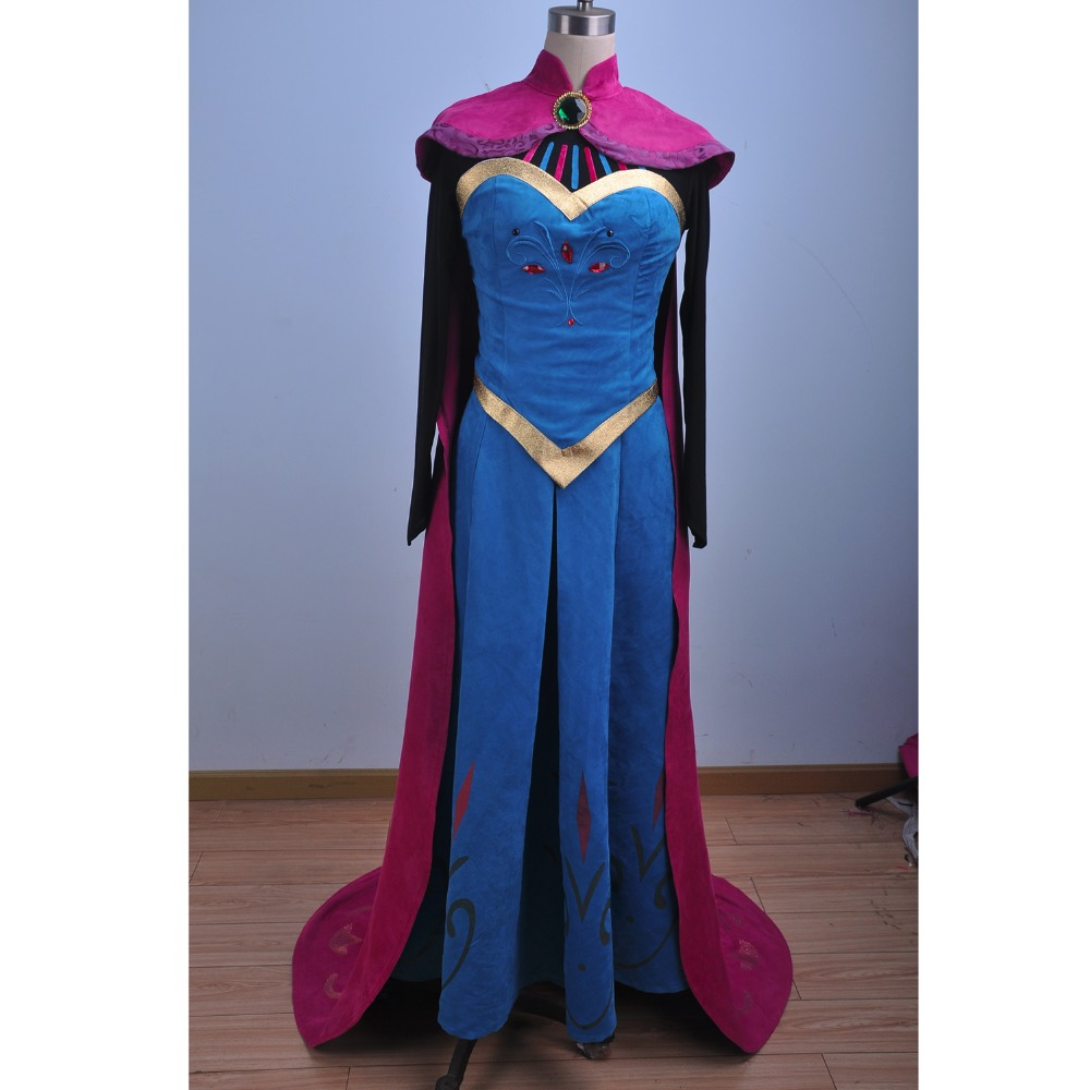 New Movie Snow Queen Elsa Coronation Cosplay Dress Adult Anna Birthday Party Dress Women Halloween Costume Customized Free Crown