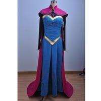 New Movie Snow Queen Elsa Coronation Cosplay Dress Adult Anna Birthday Party Dress Women Halloween Costume Customized Free Crown