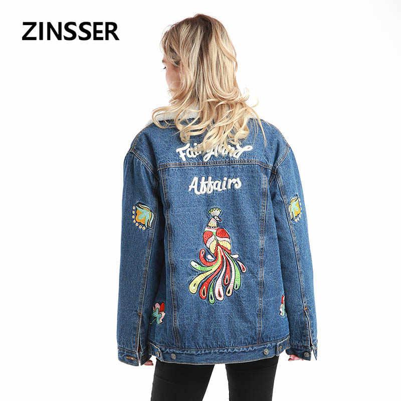 秋冬女性デニムジャケット正規ゆるいカジュアルな人工 ambswool 刺繍長袖ブルー女性の女性のコート