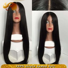 4×4 Silk Top Human Hair Lace Front Wigs Silky Straight Brazilian Virgin Hair Wig Middle Part Silk Base Full lace Wigs Natural