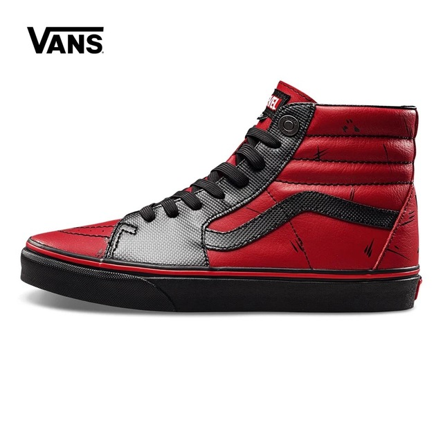 Original Vans x Marvel Classic Black red SK8-Hi high help Sneakers shoes 95d98e07a88