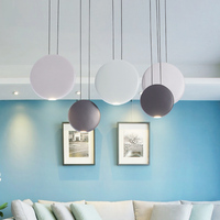 Modern Art Metals Round Pendant Lamp Nordic Simple Dining Table Bar Warm White Pendant Lights AC90 265V