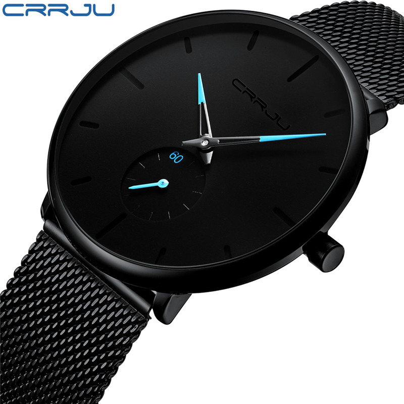 Men Watch Quartz Brand CRRJU Luxury Elegant Hot Black Watches Stainless Steel Cute Wristwatch Male Masculino Feminino Saati 2019