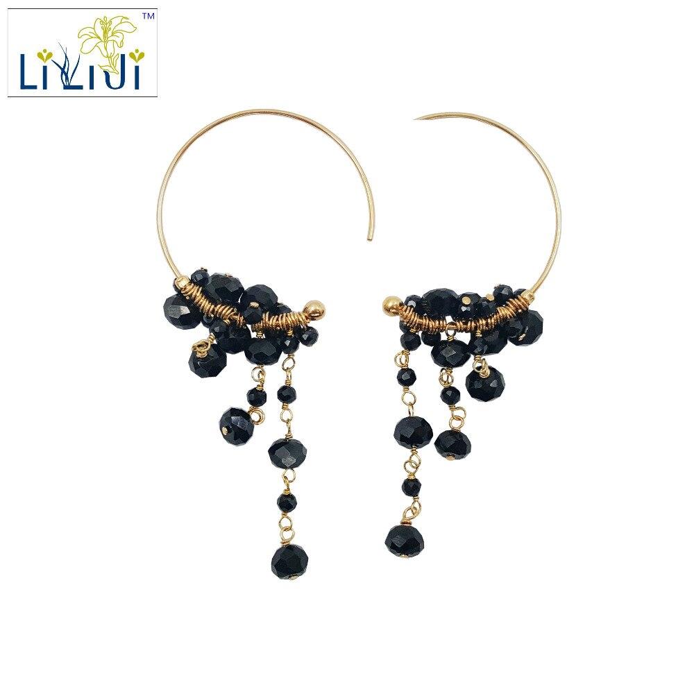 Lii Ji Black Spinel Beads,925 sterling silver Handwork Drop Dangle Tassel Earrings цена
