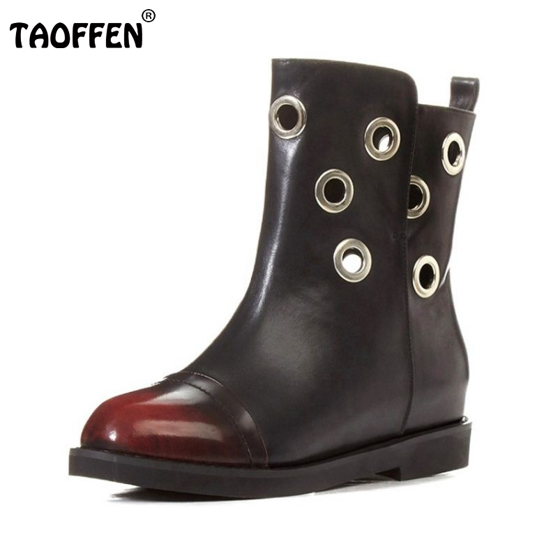 ФОТО Size 33-42 Women Real Natrual Genuine Leather Half Short Boots Woman Round Toe Shoes Fashion Vintage Flat Martin Boots