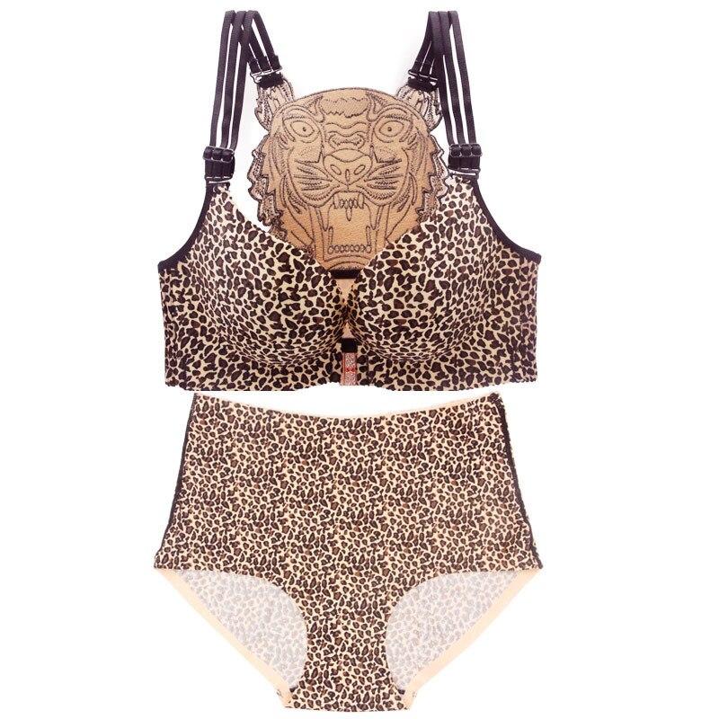 Sexy Leopard Tiger Underwear Women   Set   Front Closure Push Up   Bra     Set   Plus Size Seamless Big Size   Bra   and Panty   Set   Lingerie   Set