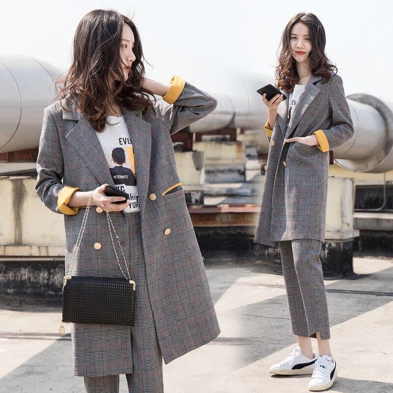 Ensemble Femmes D'affaires Blazer orange Turn Mode Casual Costumes Pour Femelle down Vert Droit Pantalon Travail Et Col Long 2018 De FwqI86Aa