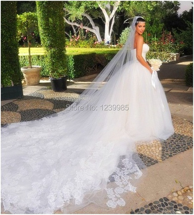 Kim Kardashian White Dress Sexy Sweetheart Lace Ball Gown Cathedral Royal Train Bridal With Long Veil In Celebrity Inspired Dresses From Weddings